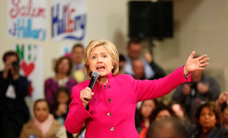 Democratic presidential candidate Hillary Clinton speaks during a campaign stop, December 9, 2015, in Salem, New Hampshire.