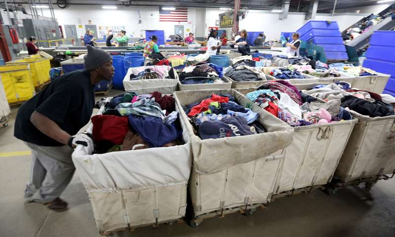 Bins of donated clothing at a Goodwill plant in Indiana.