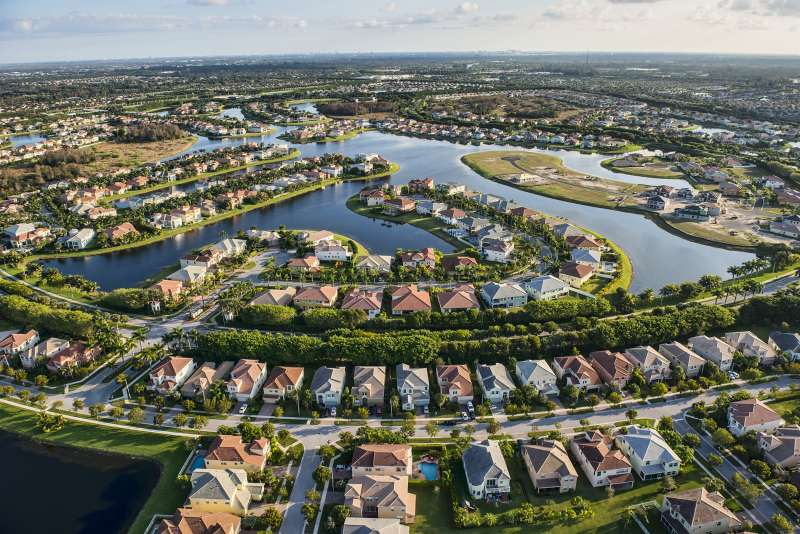 Aerial view of a South Florida suburban housing community