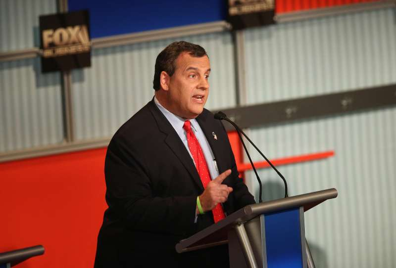 Presidential candidate New Jersey Gov. Chris Christie speaks during the Republican Presidential Debate sponsored by Fox Business and the Wall Street Journal at the Milwaukee Theatre November 10, 2015 in Milwaukee, Wisconsin.