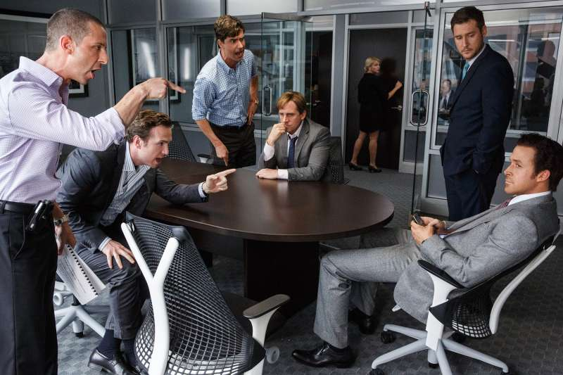The Big Short Left to right: Jeremy Strong plays Vinny Peters, Rafe Spall plays Danny Moses, Hamish Linklater plays Porter Collins, Steve Carell plays Mark Baum, Jeffry Griffin plays Chris and Ryan Gosling plays Jared Vennett in The Big Short from Paramount Pictures and Regency Enterprises