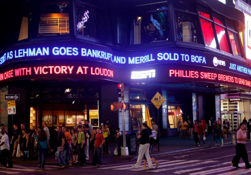 Lehman Brothers name moves across a news ticker in New York's Times Square September 15, 2008.