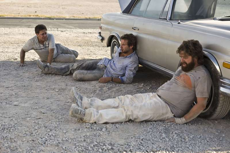 Ed Helms, Bradley Cooper and Zach Galifianakis in THE HANGOVER (2009)