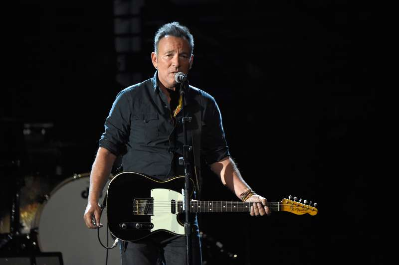 Recording artist Bruce Springsteen performs onstage at A+E Networks  Shining A Light  concert at The Shrine Auditorium on November 18, 2015 in Los Angeles, California.
