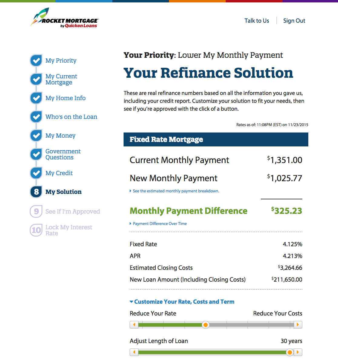 A look at adjustable rates from Rocket Mortgage once you've been approved for a loan.