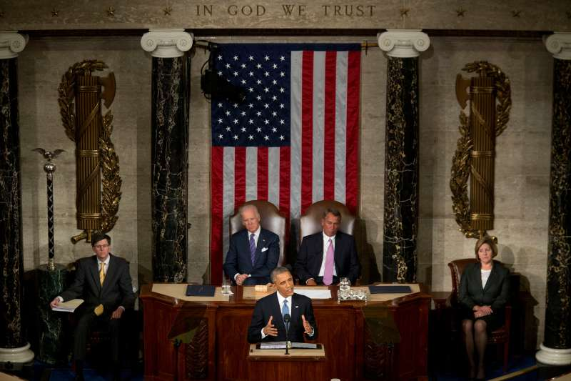 U.S. President Barack Obama delivers the 2015 State of the Union address.