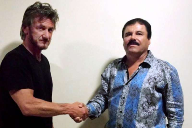 "Mexican drug lord Joaquín ""El Chapo"" Guzmán and actor Sean Penn, photographed for Rolling Stone magazine, New York City, January 9, 2016."