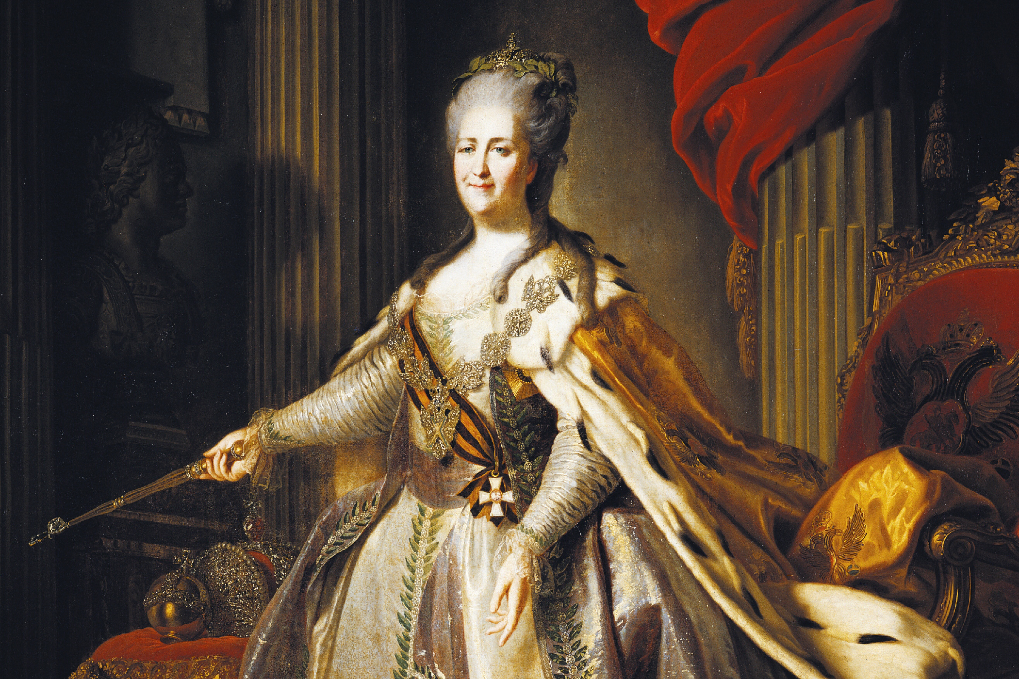 Portrait of Catherine II, also known as Catherine the Great (Stettin, 1729-Pushkin, 1796), Empress consort of Peter III of Russia (1728-1762), painting by Fyodor Rokotov (1735 or 1736-1808), ca 1770
