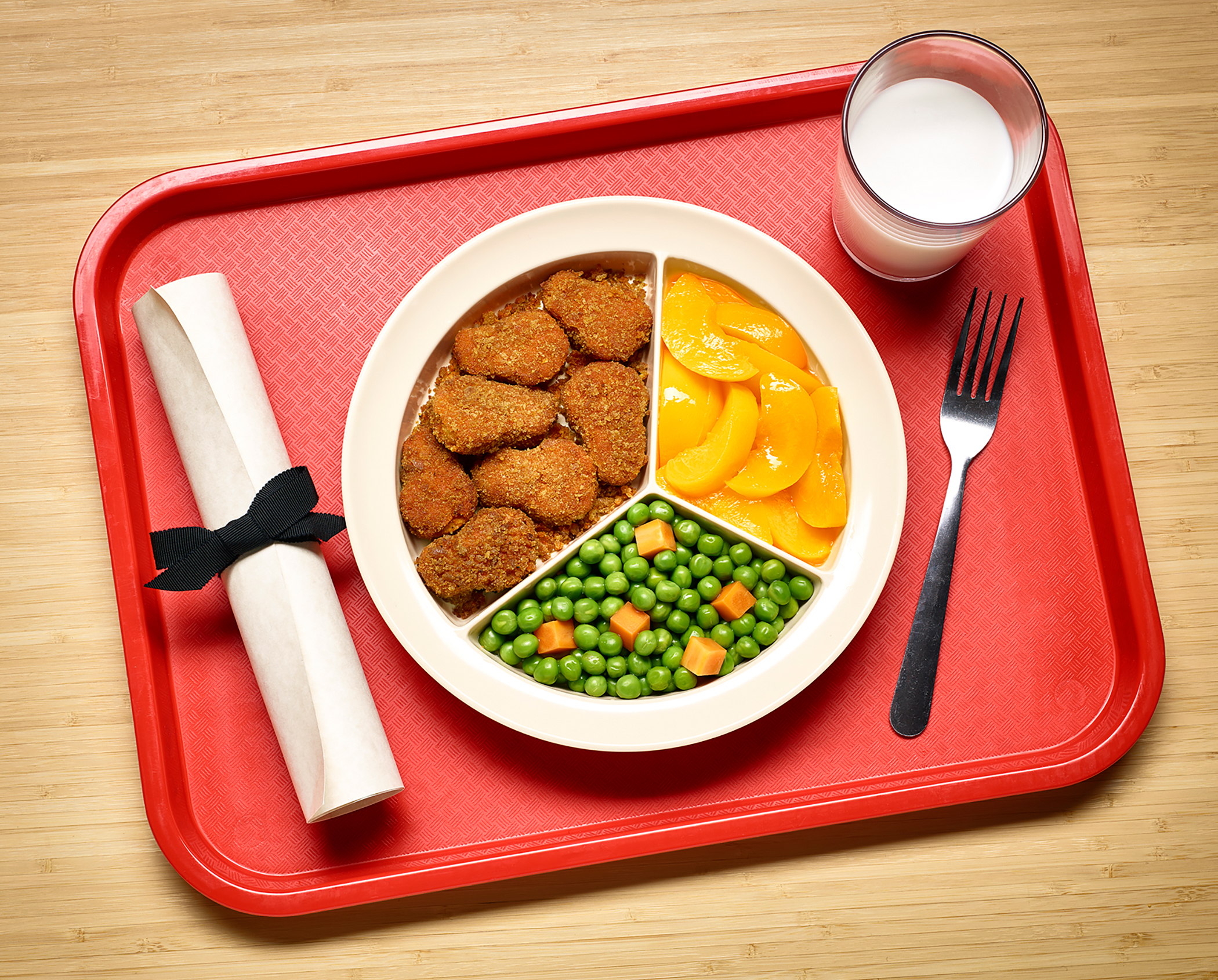 school lunch divided into pie chart with diploma