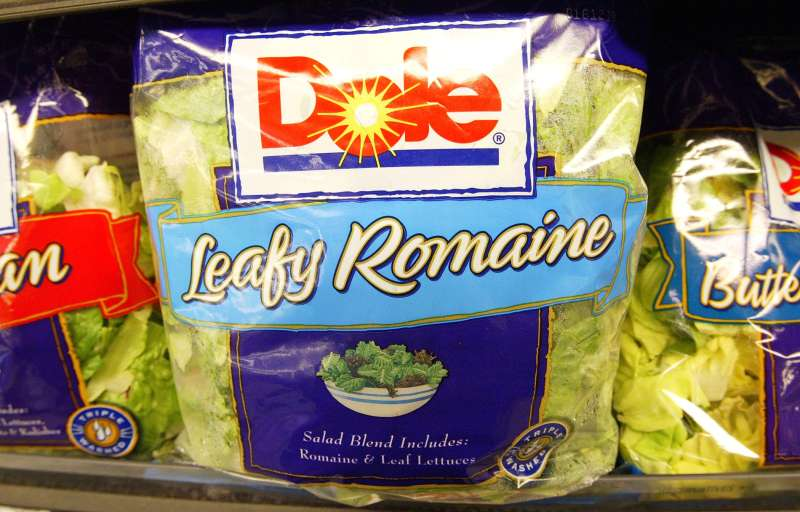 Dole Pre-Packaged salad sits on the shelf at a Bell Market grocery store June 19, 2003 in San Francisco, California.