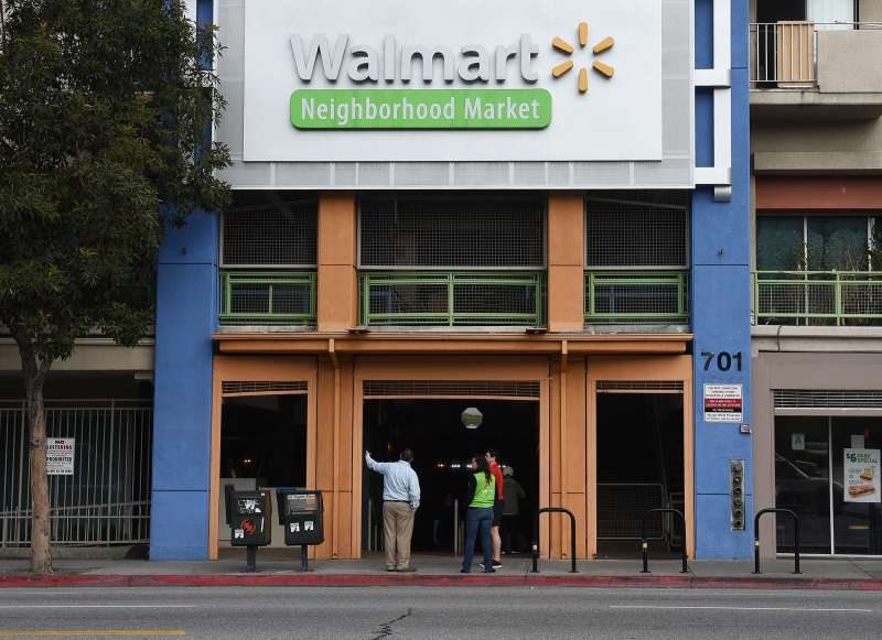 A Walmart store is seen on January 16, 2016 in Chinatown, Los Angeles, one of seven Walmart stores in Southern California and 269 stores across the globe that will close down due to company restructuring.