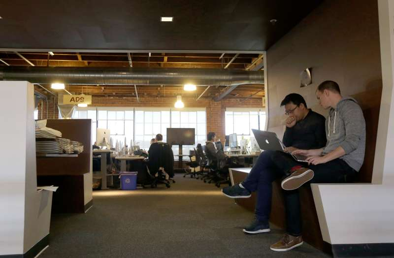 Pinterest employees work in the office in San Francisco, April 1, 2015. The San Francisco-based venture capital darling celebrated its fifth birthday in March 2015.