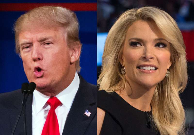 Republican presidential candidate Donald Trump, left, and Fox News Channel host and moderator Megyn Kelly during the first Republican presidential debate at the Quicken Loans Arena, in Cleveland, August 5, 2015.