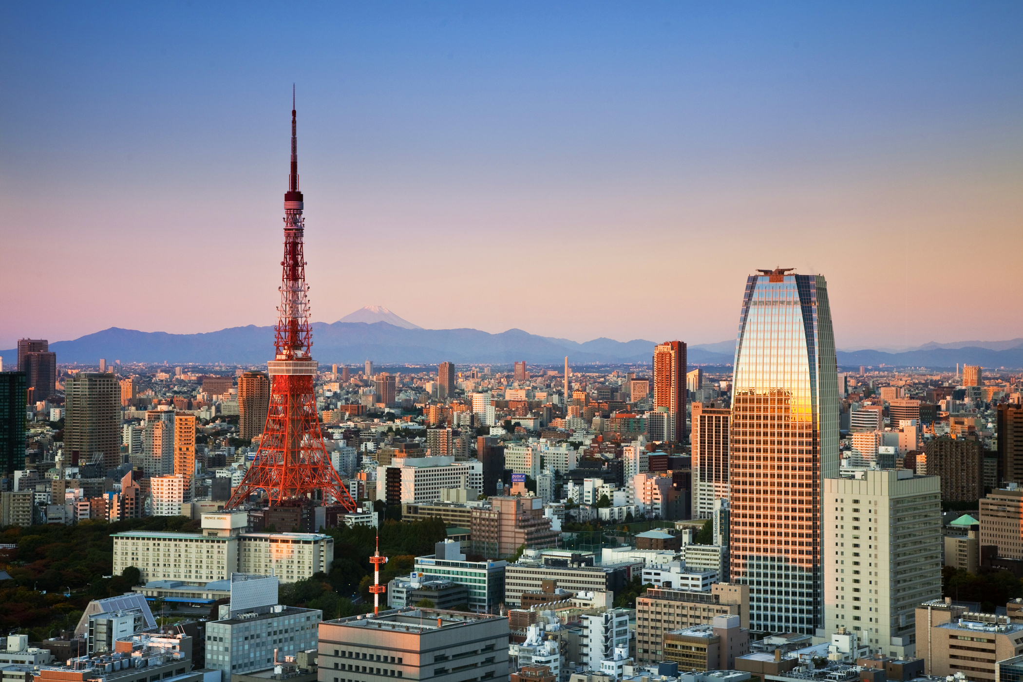 The Tokyo Tower (left) with Mount fuji in the distance