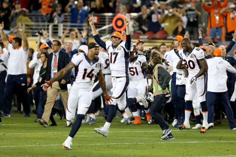Brock Osweiler #17 of the Denver Broncos celebrates after winning Super Bowl 50 at Levi's Stadium on February 7, 2016 in Santa Clara, California. The Denver Broncos defeated the Carolina Panthers 24-10.