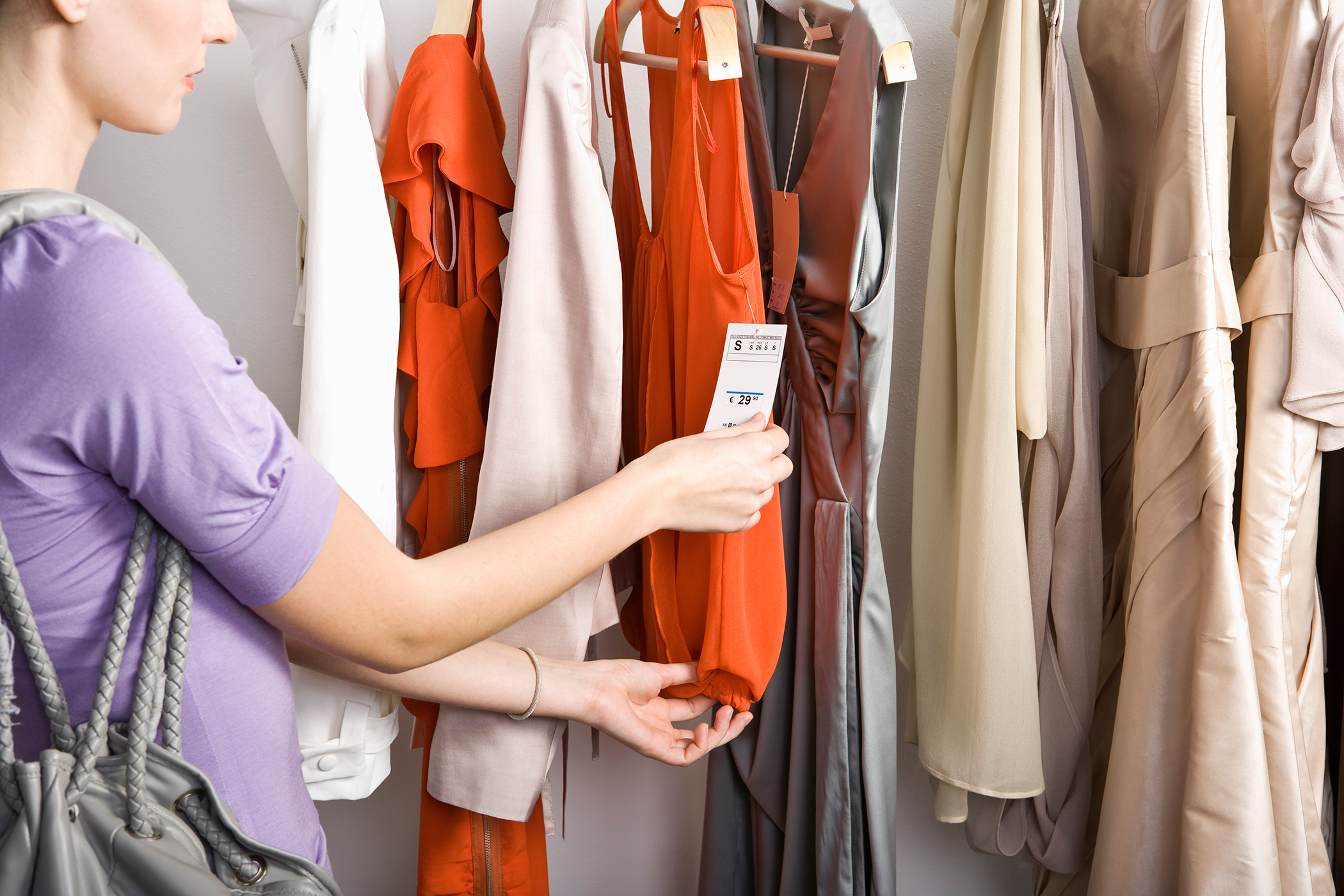 woman checking price tags