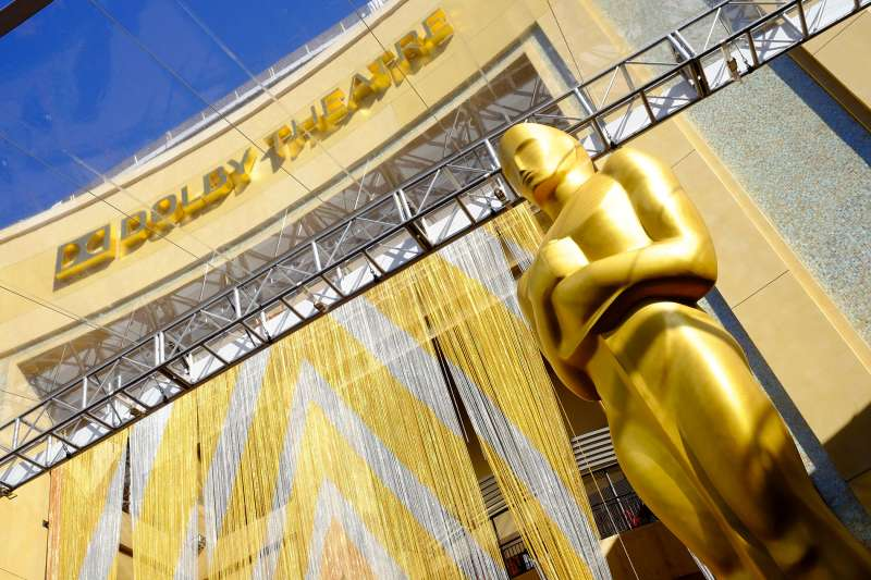 View of the Oscar statue in front of the Dolby Theatre at the 88th Annual Academy Awards red carpet roll out held at Hollywood & Highland, Hollywood, California, on February 24, 2016.