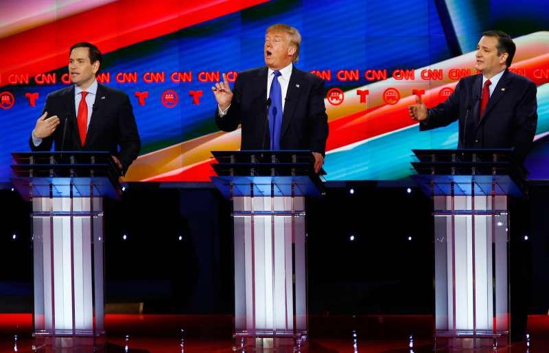 Republican U.S. presidential candidates (L-R) U.S. Senator Marco Rubio, Donald Trump and Senator Ted Cruz speak at the debate sponsored by CNN for the 2016 Republican U.S. presidential candidates in Houston, Texas, February 25, 2016.