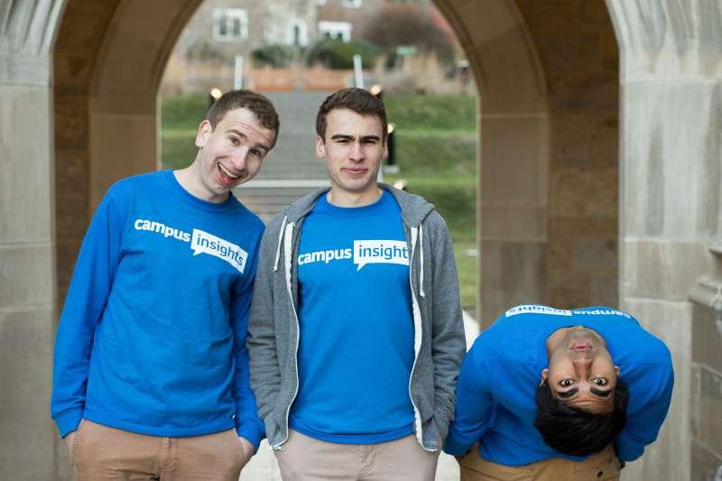 Stephen Soward, left, Riley Soward, center, and  Ameet Kallarackal  of Campus Insights