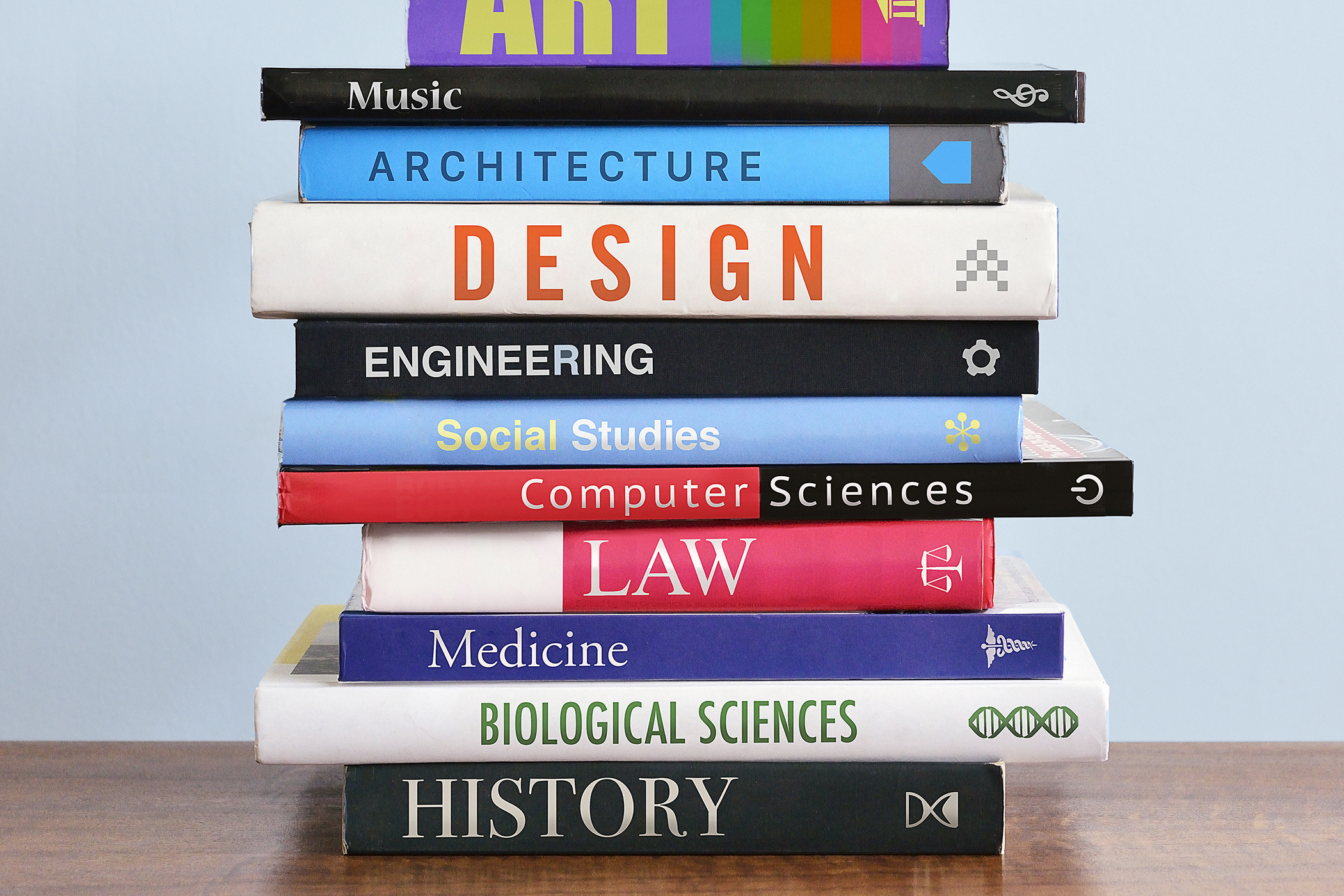 Pile of books depicting study choices.