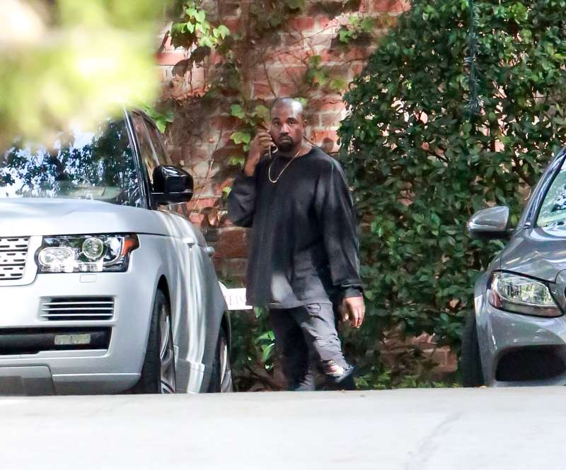 Kanye West is seen at Kim Kardashian's baby shower in Calabasas on October 25, 2015 in Los Angeles, California.