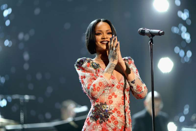 Rihanna attends the 2016 MusiCares Person of the Year honoring Lionel Richie at the Los Angeles Convention Center on February 13, 2016 in Los Angeles, California.