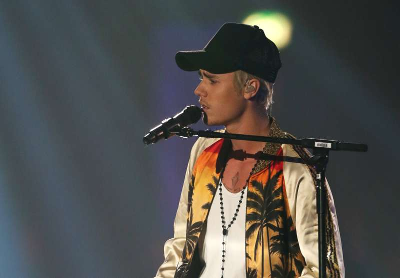 Justin Bieber at the BRIT Awards 2016 at The O2 Arena on February 24, 2016 in London, England.