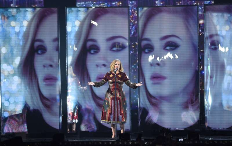 Adele performs on stage during the BRIT Awards 2016 at The O2 Arena on February 24, 2016 in London, England.