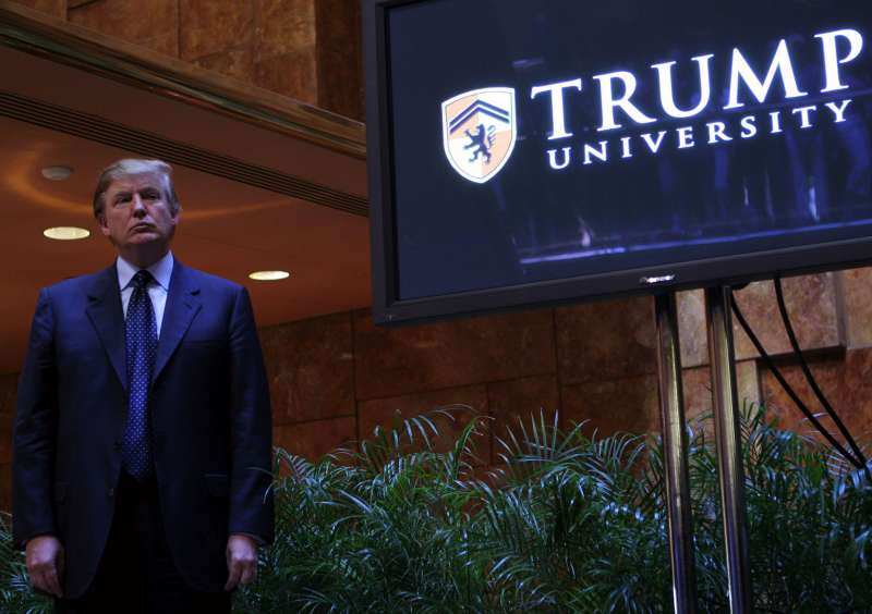 Real estate mogul Donald Trump holds a media conference announcing the establishment of Trump University May 23, 2005 in New York City.