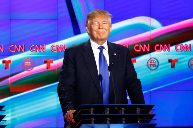 Republican U.S. Presidential candidate Donald Trump participates in the debate sponsored by CNN for the 2016 Republican U.S. presidential candidates in Houston, Texas, February 25, 2016.