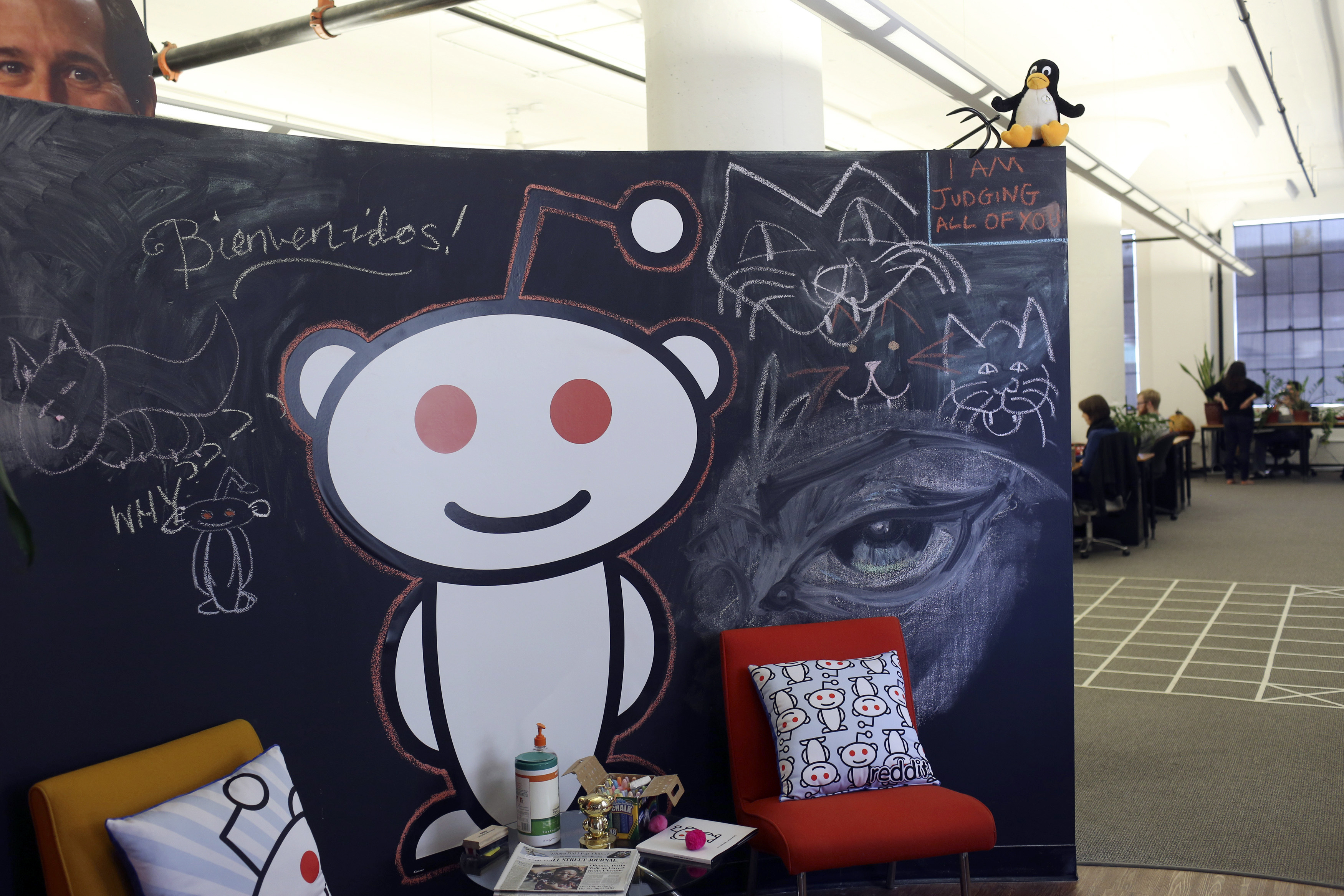 A Reddit mascot is shown at the company's headquarters in San Francisco, California April 15, 2014. Reddit, a website with a retro-'90s look and space-alien mascot that tracks everything from online news to celebrity Q&As, is going after more eyeballs, and advertising, by allowing members of its passionate community to post their own news more quickly and easily.