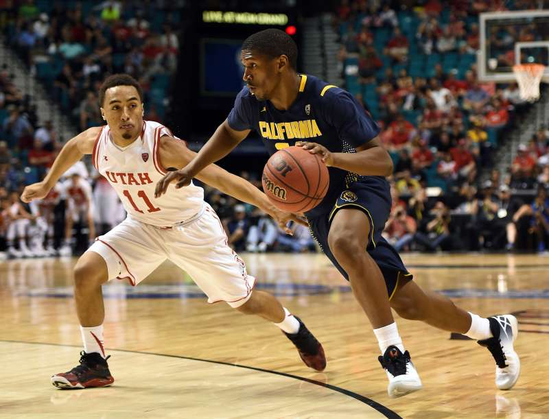 Jordan Mathews, #24 of the California Golden Bears, drives against Brandon Taylor, #11 of the Utah Utes, during a semifinal game of the Pac-12 Basketball Tournament in March.