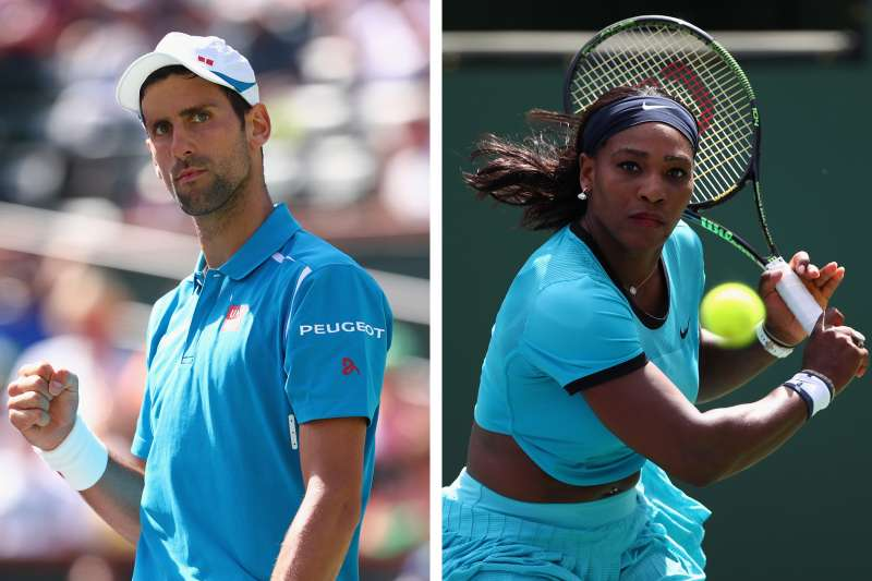 Novak Djokovic of Serbia (left) and Serena Williams of USA (right) at the BNP Paribas Open at Indian Wells Tennis Garden on March 19, 2016 in Indian Wells, California.