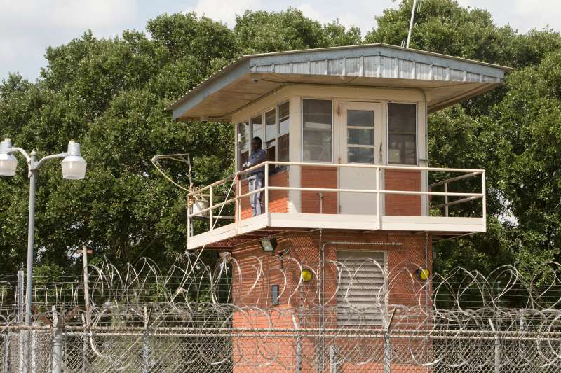 Prison guard at security lookout tower at Darrington Unit Prison near Houston, Texas, August 2014.