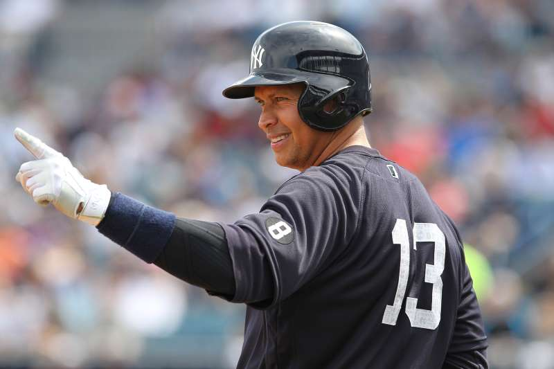 New York Yankees designated hitter Alex Rodriguez (13) during the MLB Grapefruit League Spring Training game between the Boston Red Sox and New York Yankees at George M. Steinbrenner Field in Tampa, FL, March 5, 2016.