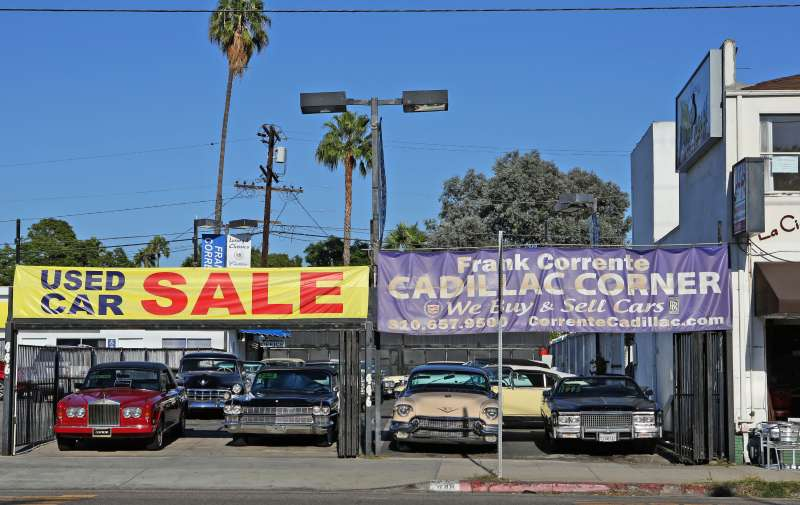 A view of Cadillac Corner in West Hollywood, California.