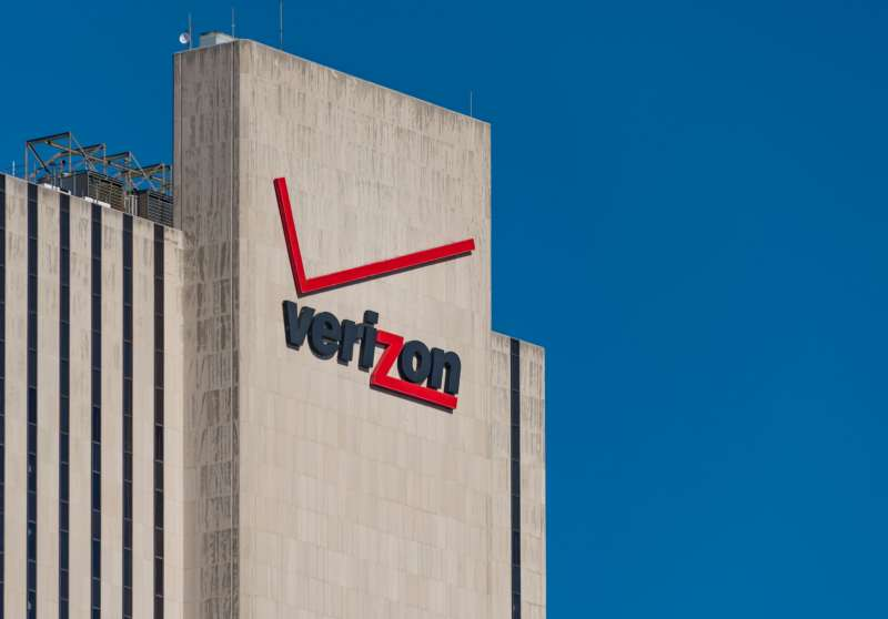 Verizon signage and logo on its building at 375 pearl street, New York city.