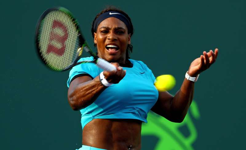 Serena Williams plays a match against Zarina Diyas of Kazakhstan during Day 6 of the Miami Open presented by Itau at Crandon Park Tennis Center on March 26, 2016 in Key Biscayne, Florida.
