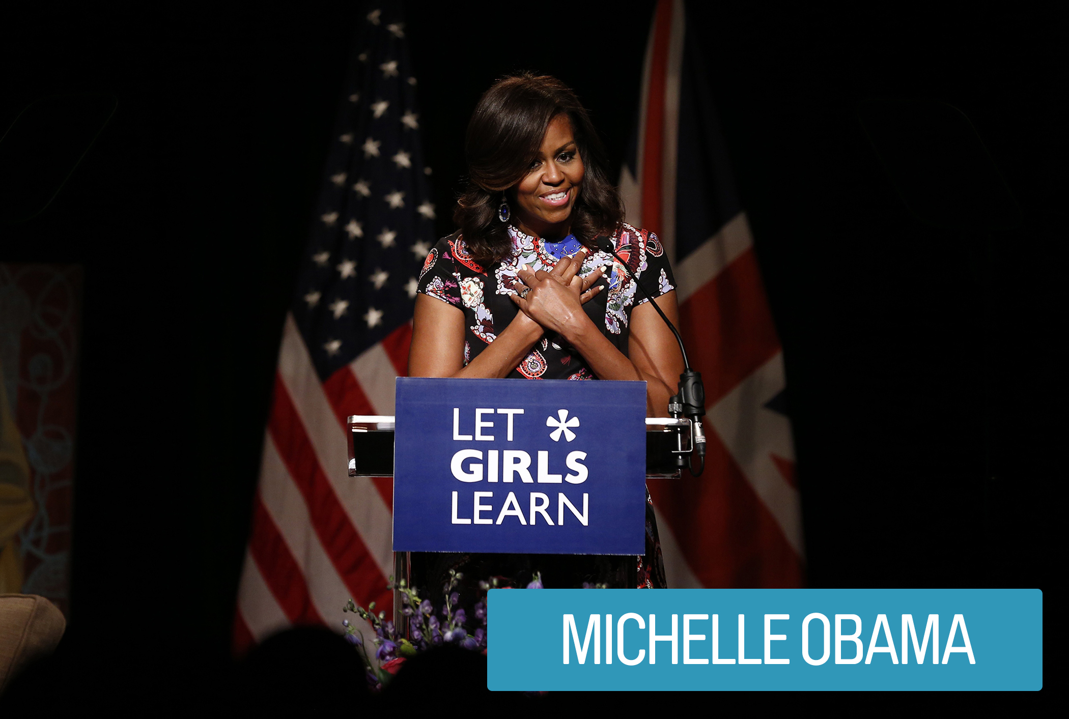 "In an effort to combat childhood obesity, First Lady Michelle Obama started the ""Let's Move"" initiative to encourage physical activity, educate kids about healthy eating and provide better food options in schools.  Her ""Let Girls Learn"" global campaign aims to expand access to adolescent girls' education around the world."