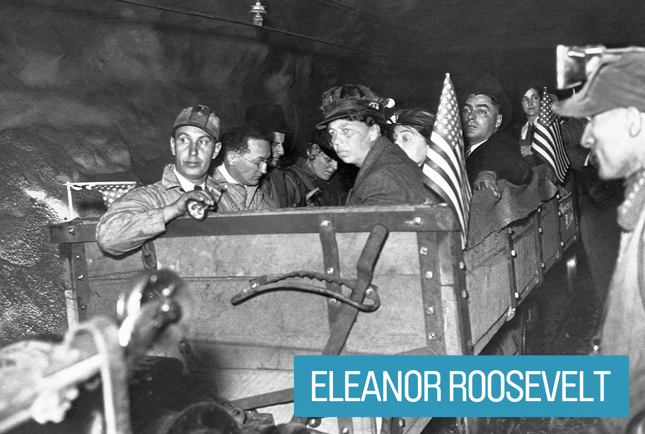 "Eleanor Roosevelt inspected social and economic reform programs associated with The New Deal, ensuring their effectiveness and equal treatment for women, youths, African-Americans and coal miners.                                         During World War II, she rallied wives of the enlisted to work on the home front, popularizing ""Rosie-the-Riveters."""