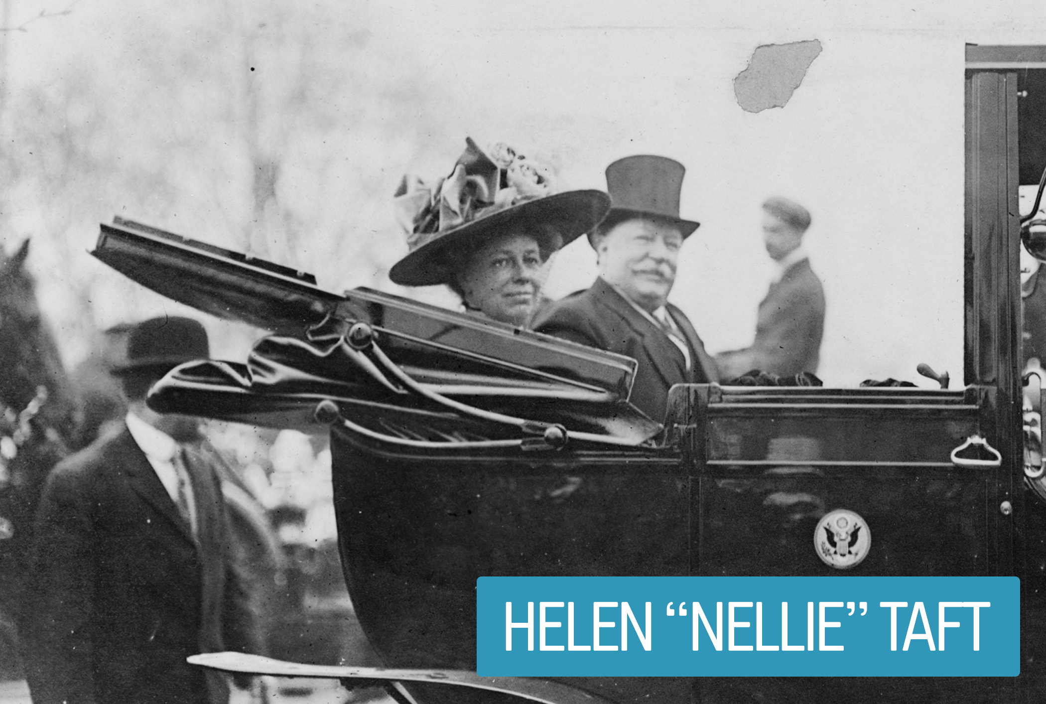 "Helen ""Nellie"" Taft got a 1912 law passed that set health and safety standards for federal workplace conditions—the first act engineered by a First Lady. Mrs. Taft also upgraded presidential transportation from horse-drawn vehicles to automobiles—negotiating discounts with car companies in exchange for the promotion."