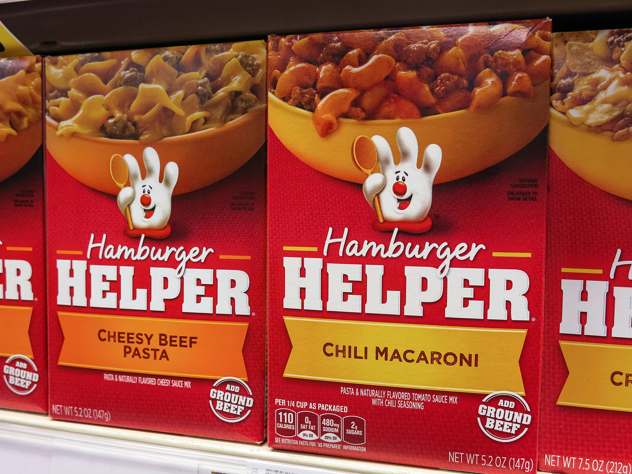 Boxes of Hamburger Helper, Smith's Grocery Store, Great Falls, Montana, 2014