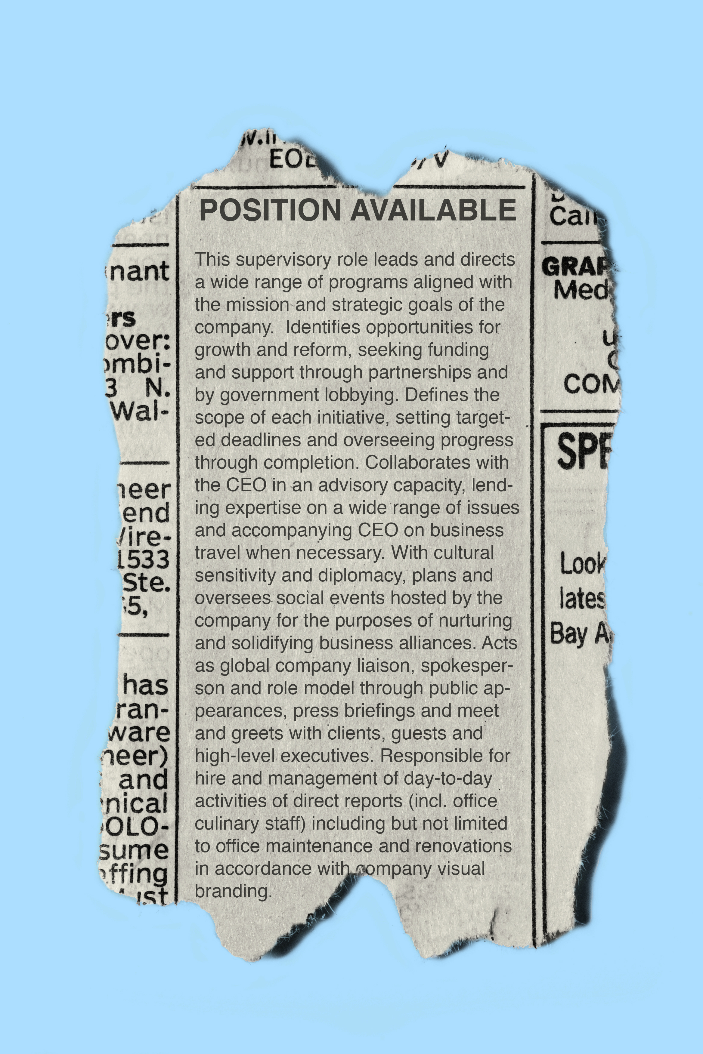 newspaper classified ad for first lady position