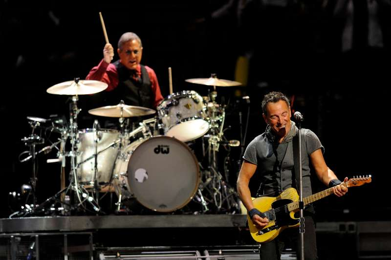 Max Weinberg and Bruce Springsteen of Bruce Springsteen and the E Street Band perform at the Pepsi Center in Denver, Colorado on March 31, 2016.