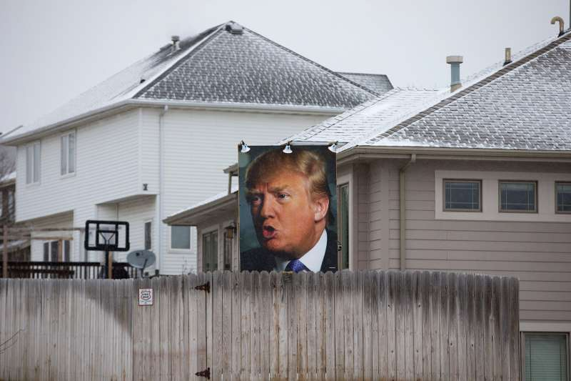 An Iowa man has also decorated his lawn with Trump paraphernalia.