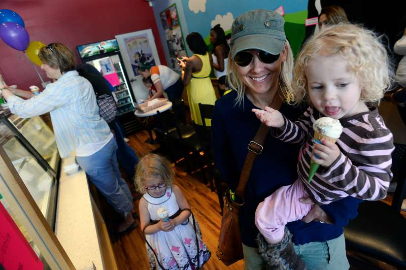 A scene from Free Cone Day at Ben & Jerry's location in Denver in 2015.