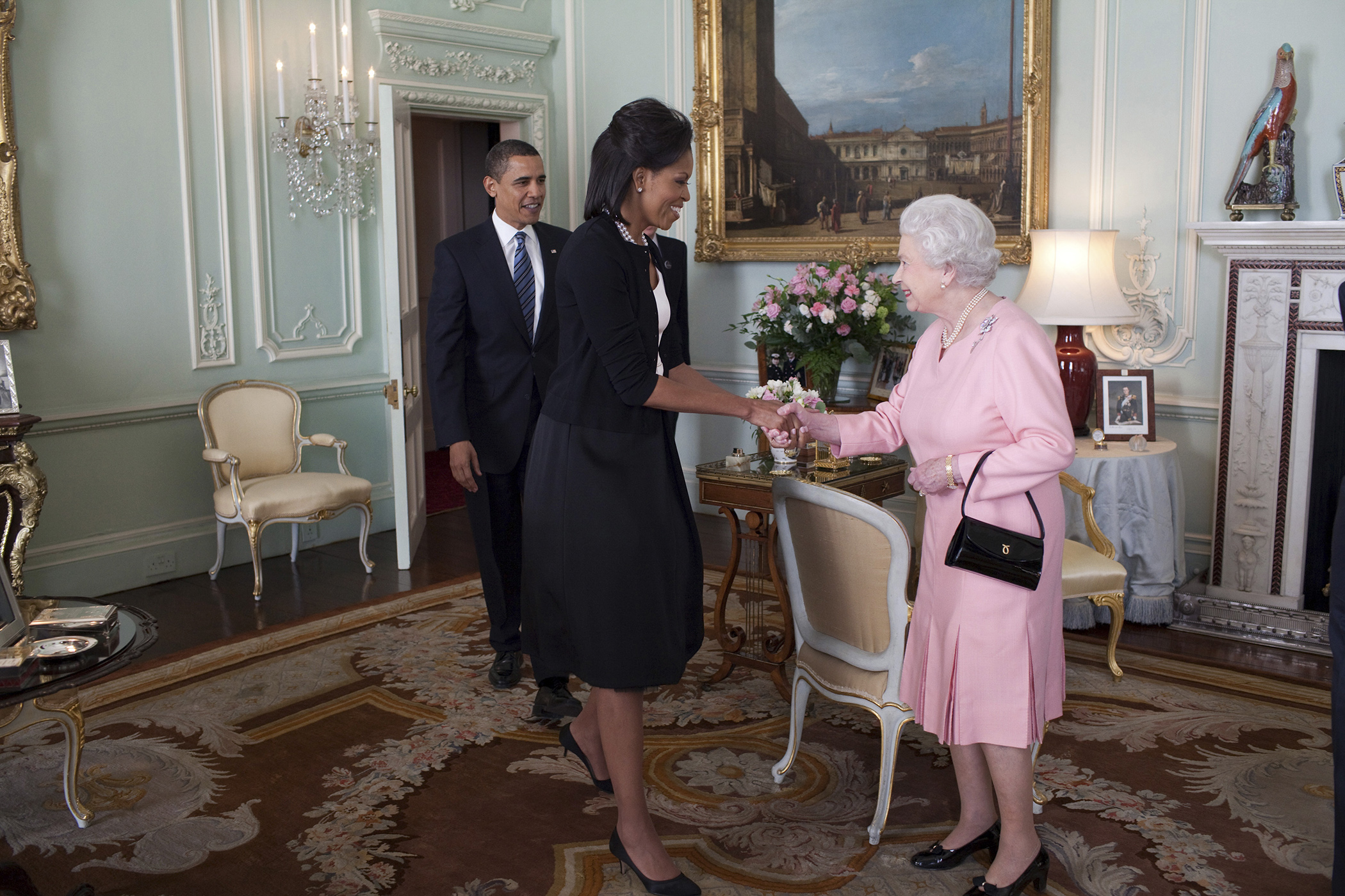 President Barack Obama and First Lady Michelle Obama are welcomed by Her Majesty Queen Elizabeth II to Buckingham Palace in London, April 1, 2009.