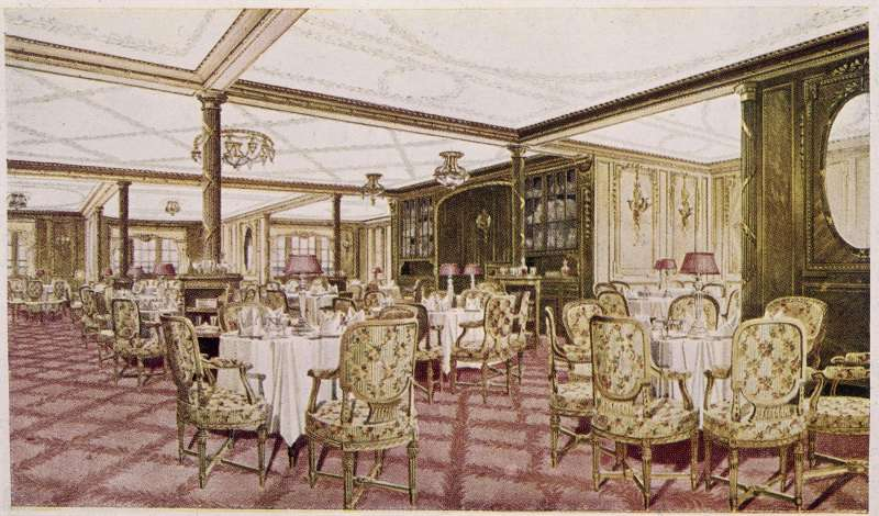 The Titanic's a la carte restaurant attracted an even swankier clientele than the regular first-class dining room. Unfortunately, no menus from it are believed to survive.