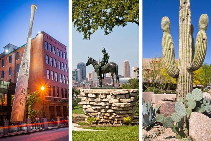 (left) Louisville, Kentucky; (center) Kansas City, Missouri; (right) Phoenix, Arizona