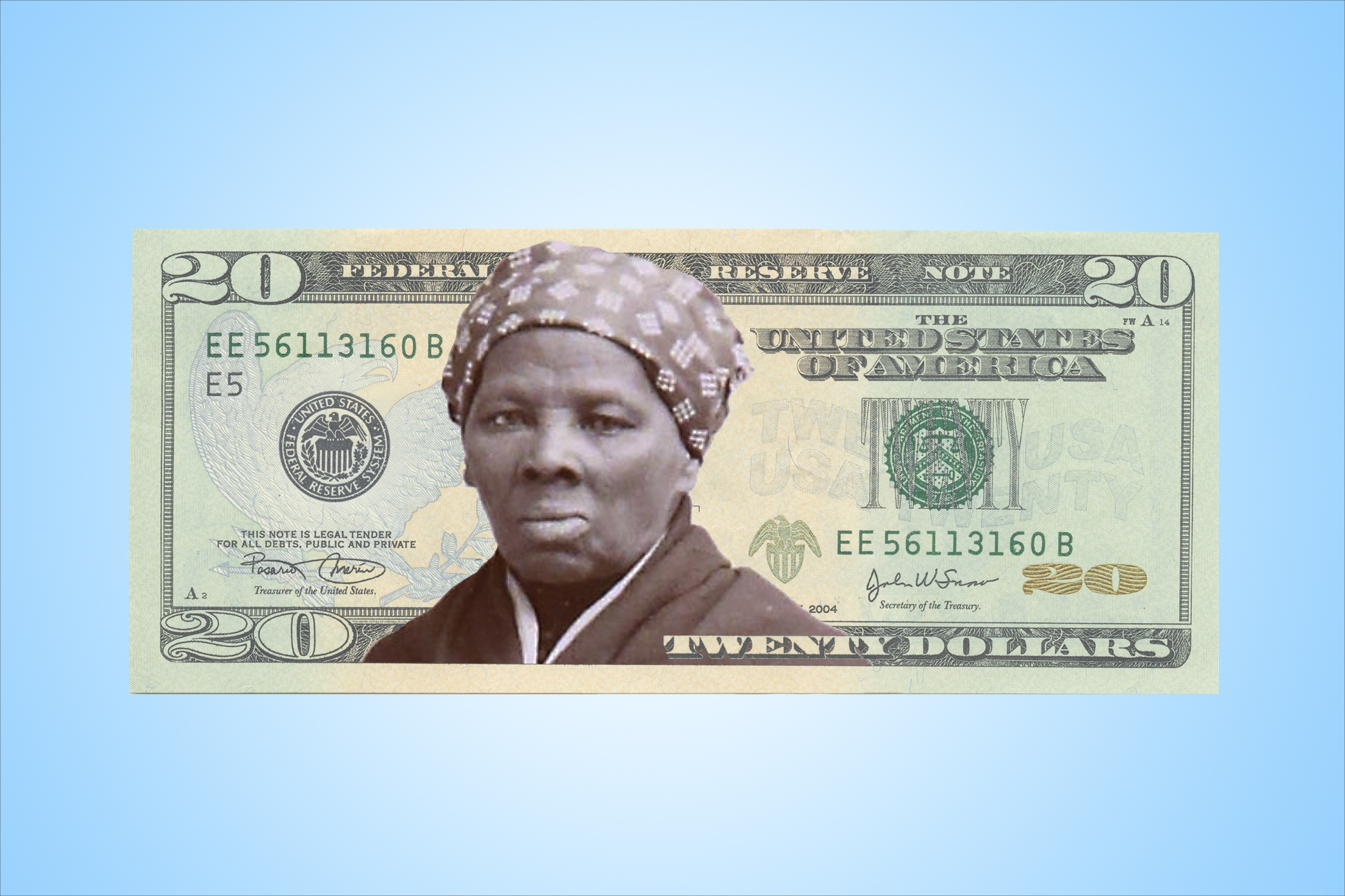 A photo illustration of what the new $20 might look like with Harriet Tubman on the face of it.